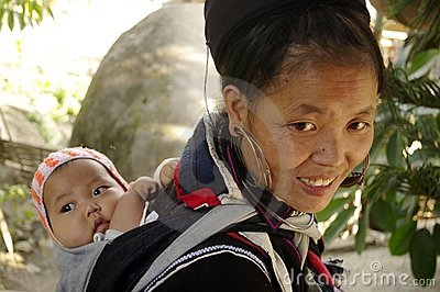 Black Hmong ethnic woman and baby Editorial Photo