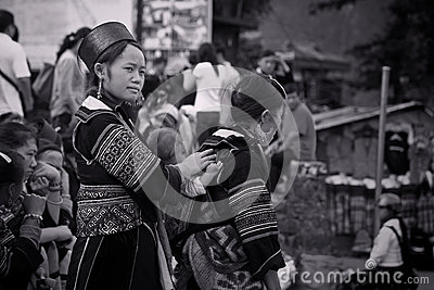 Black Hmong s women from Cat Cat village in Sapa Editorial Stock Image