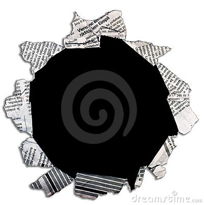 Free Black Hole In Newspaper. Stock Photo - 19628680