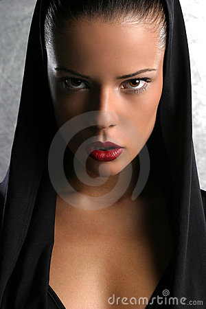 Black hood portrait