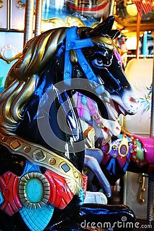 Black horse carousel