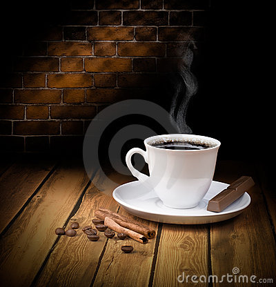 Free Black Hot Coffee Cup With Chocolate Royalty Free Stock Images - 12229769