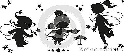 Black icon set of fairies