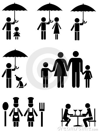 Black icons of family, food service, and umbrella.