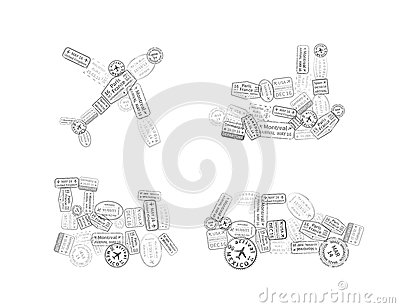 Black immigration stamps arranged in car, plane, ship and train shape isolated on white Vector Illustration