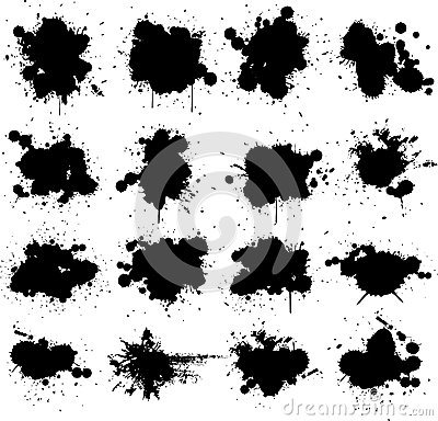 Black ink paint splat