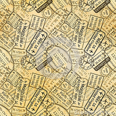 Free Black International Travel Visa Rubber Stamps Imprints On Old Paper, Seamless Pattern Stock Photography - 90951512