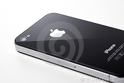 Black iPhone 4s on white background Editorial Stock Photo