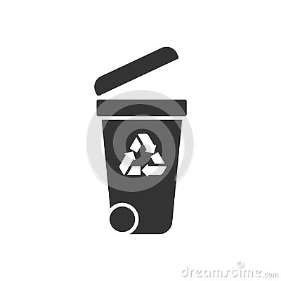 Free Black Isolated Icon Of Container On White Background. Silhouette Of Bin For Trash. Stock Images - 117566724