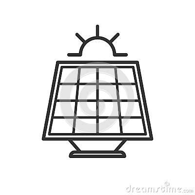Free Black Isolated Outline Icon Of Solar Panel With Sun On White Background. Line Icon Of Solar Battery. Stock Images - 117568364