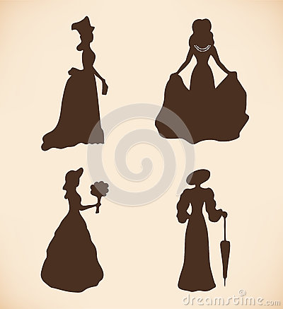 Black isolated women silhouettes  Vintage icons co