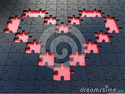Black jigsaw heart puzzles