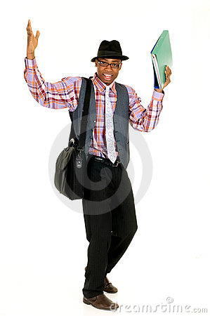 Black joyful businessman