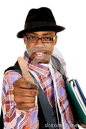 Black joyful businessman