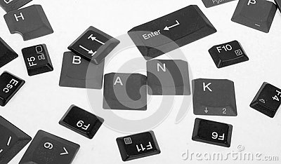 Black keyboard buttons- world BANK