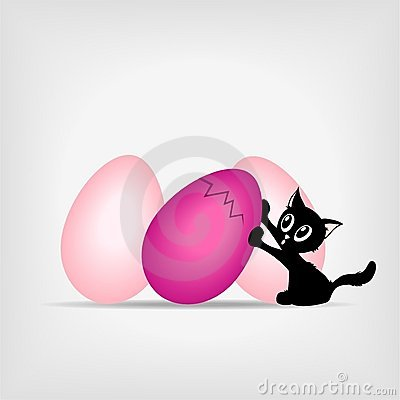 Black kitty with big pink easter eggs