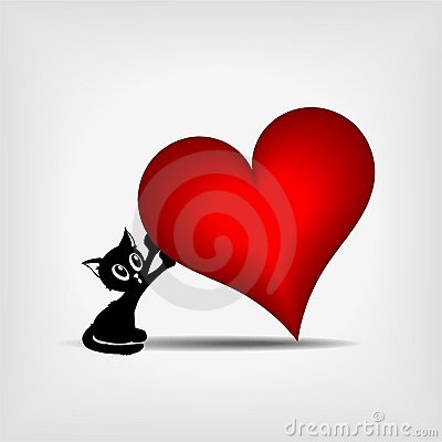 Free Black Kitty Holding Big Red Heart Royalty Free Stock Photography - 22659607