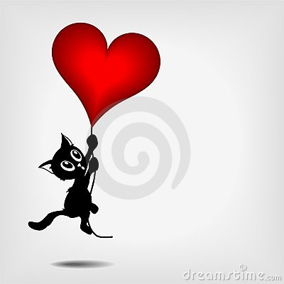 Free Black Kitty Holding Big Red Heart Royalty Free Stock Photography - 22677607