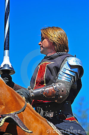 Black knight mounted on his steed Editorial Image