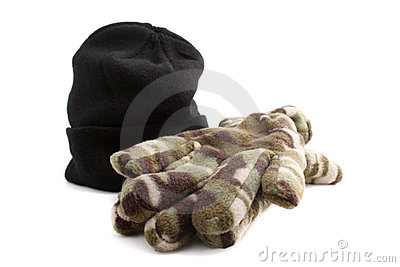 Black knitted cap and gloves