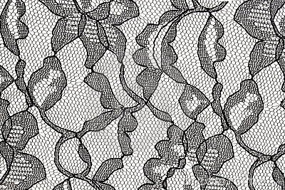 Black lace fabric with flower pattern