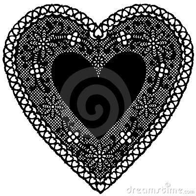 Black Lace Heart Doily on White Background