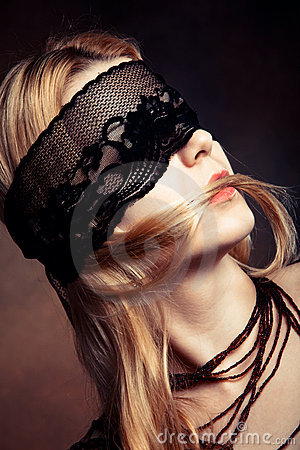 Black lace over eyes