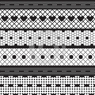 Black lace ribbons vector fabric seamless pattern