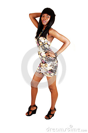 Black lady standing.