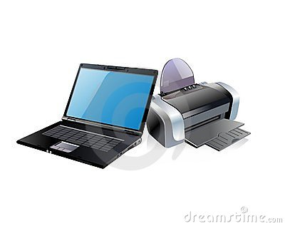 Black laptop and printer