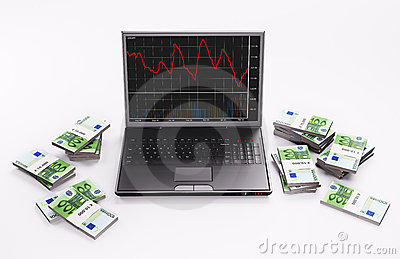 Black Laptop and stacks of euros 3d