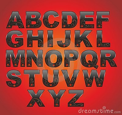 Black latin alphabet
