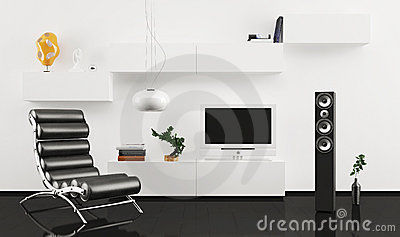 Black leather armchair in modern interior design