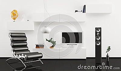 Black leather armchair in modern interior design