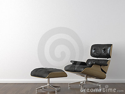 Black leather armchair on white