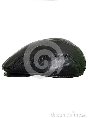 Free Black Leather Beret Flat-crowned Hat Isolated Over The White Background Stock Image - 104661741