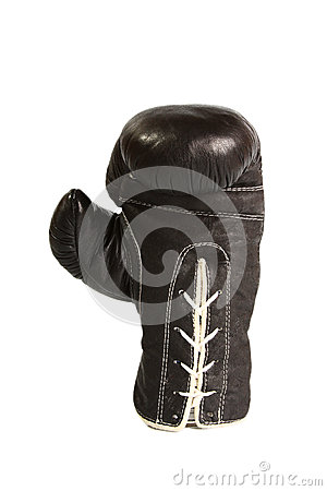 Black leather boxer glove upright  isolated on white background
