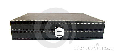 Black leather case for confidential documents
