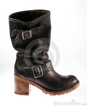 Black leather casual female boot