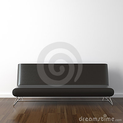 Free Black Leather Couch On White Stock Photography - 11299372