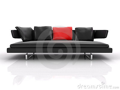 black leather couch with red pillow isolated on the white background