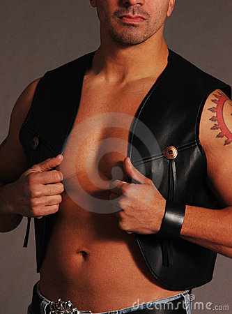 Black leather cowboy vest 2