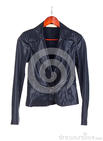 A black leather ladies jacket