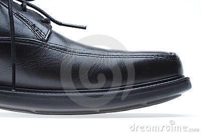 Black leather men s dress shoe (toe)