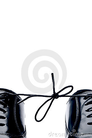 Free Black Leather Shoes With Thier Laces Tied Together Royalty Free Stock Photos - 10137708
