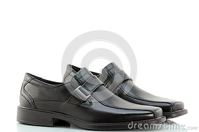 Black Leather Slip-on Shoes for men