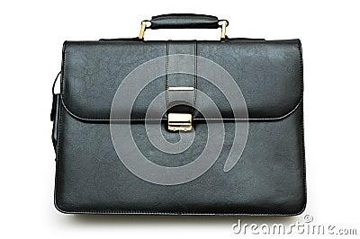 Black leather suitcase isolated