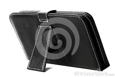 Black leather tablet case