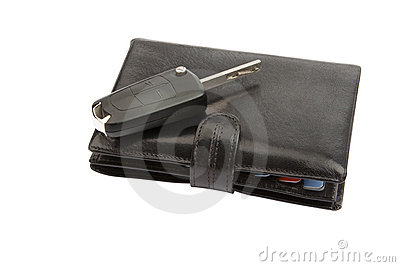 Black leather wallet and key