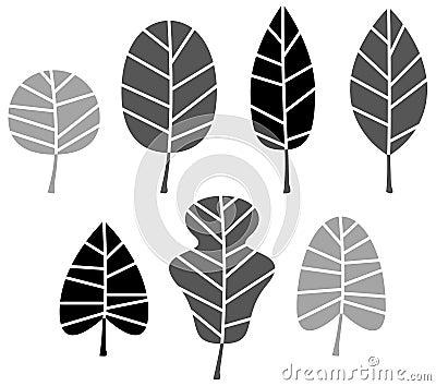 Black Leaves silhouette set